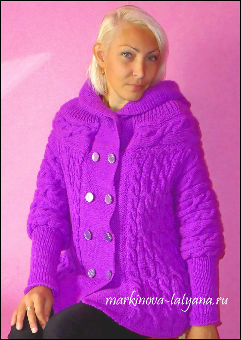 Вязаное сиреневое пальто