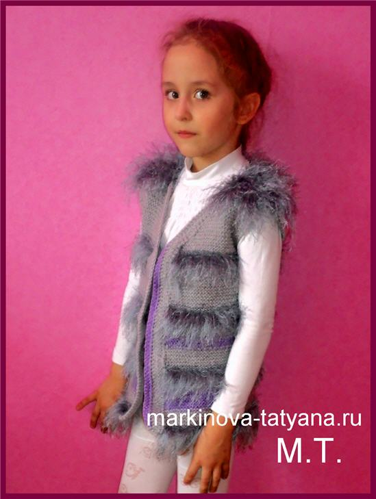 Вязаная жилетка для девочки 6 лет из травки YarnArt Jungle