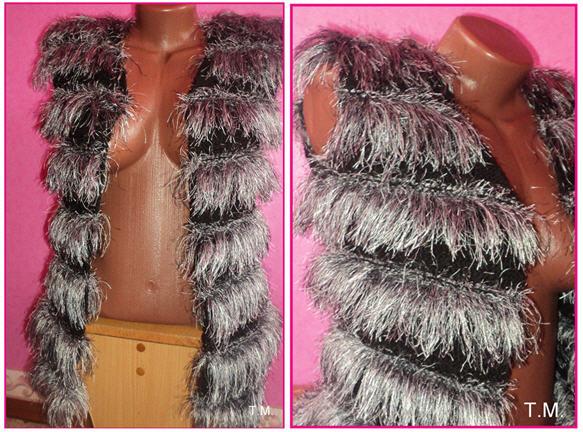 Укороченная вязаная жилетка из травки YarnArt Jungle (чернобурка)
