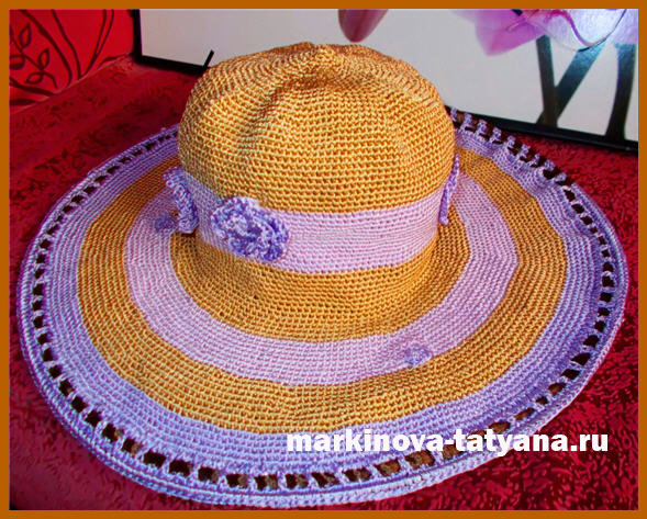 вязаная женская летняя шляпка