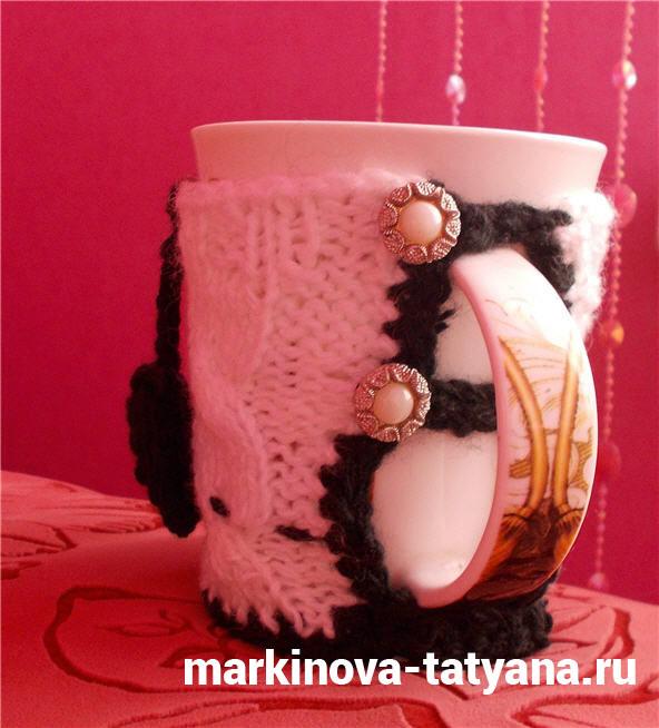 вязаный чехол для кружки чая