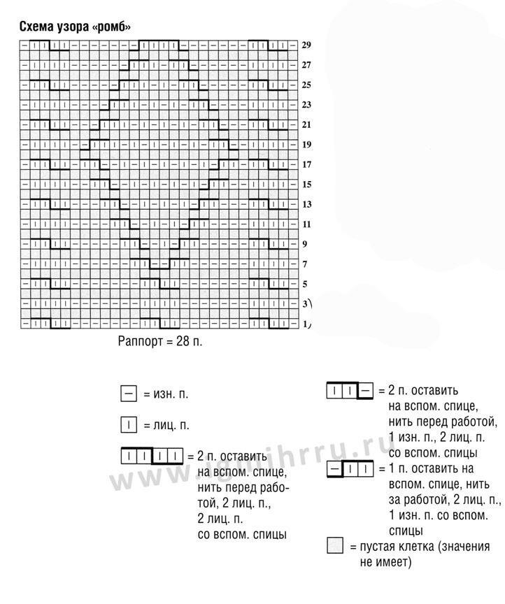 схема объемный ромб спицами